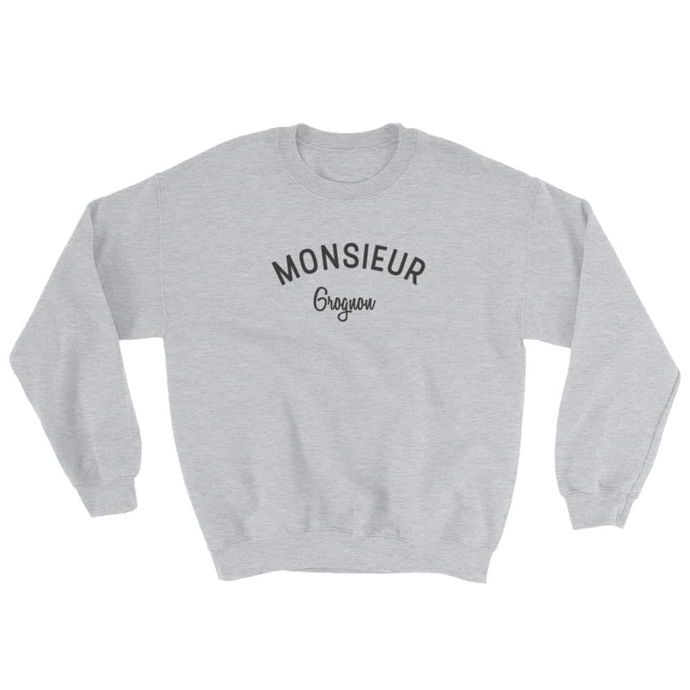 Sweatshirt monsieur grognon gris mister stick clothing - Monsieur grognon ...